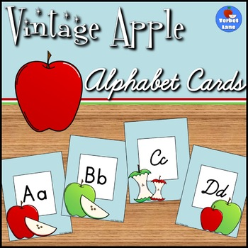 Vintage Apple Themed Alphabet Cards