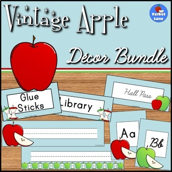 Vintage Apple Themed Classroom Decor Bundle
