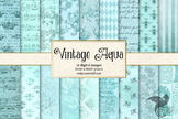 Vintage Aqua Textures digital paper