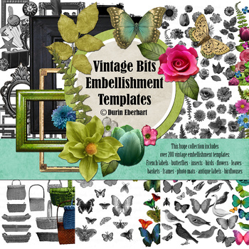 Designer's Resource: Vintage Bits Digital Embellishment Templates