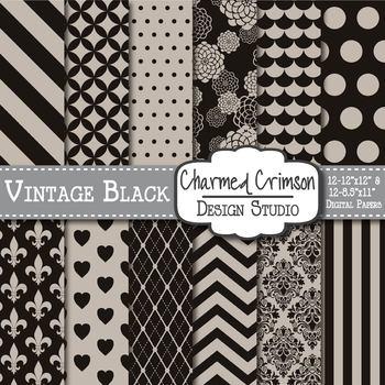 Vintage Black Damask Digital Paper 1235