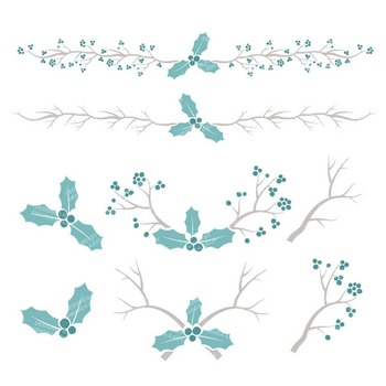 Vintage Blue Christmas Holly Clipart