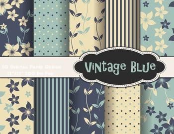 Vintage Blue Flower Digital Paper Blue Flower Background Paper Scrapbook Paper