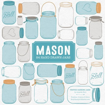 Vintage Blue Jars Clipart & Vectors - Ball Jar Clipart