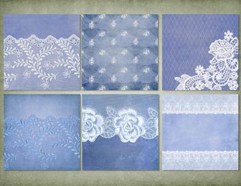 Vintage Blue Lace Digital Scrapbooking Paper, grunge gothic backgrounds