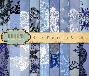 Vintage Blue Lace Digital Scrapbooking Paper, grunge gothi