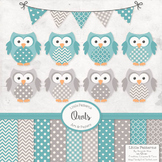 Vintage Blue Owls Vectors & Papers - Owl Clip Art, Baby Owls, Baby Owls Clipart