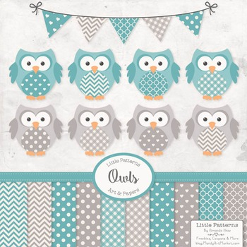 Vintage Blue Owls Vectors & Papers - Owl Clip Art, Baby Owls, Baby Owls Clipart