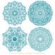 Vintage Blue Round Lace Doilies - Lace Doily, Vintage Doilies