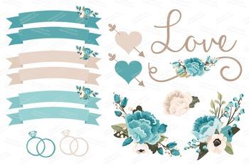 Vintage Blue Wedding Floral Clipart & Vectors - Flower Clip Art, Banners
