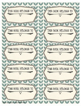 BOOKPLATES Vintage - This Book Belongs to - 7 sheets - Fillable PDF