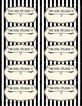 Vintage Bookplates Fillable PDF - This Book Belongs to