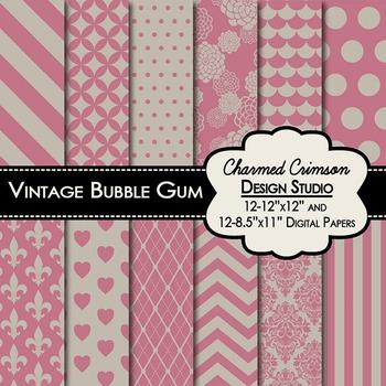 Vintage Bubble Gum Digital Paper 1412.
