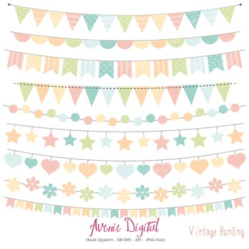Vintage Bunting Banner Clipart Scrapbook Vector Colorful Party Clip art