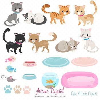 Cute Kitty cat Clipart Scrapbook Vector cats kitten Clip art