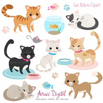 Cute Kitty cat Clipart Scrapbook Vector cats kitten Clip art