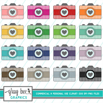 Vintage Camera With Gingham And Heart Clip Art Pack By Gray Bee Graphics