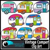Vintage Camper Clip Art, Retro Camper Clipart