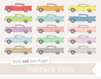 Vintage Car Clipart; Retro Car