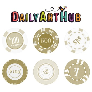 Vintage Casino Chips Clip Art - Great for Art Class Projects!