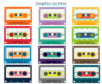 Vintage Cassettes Clipart