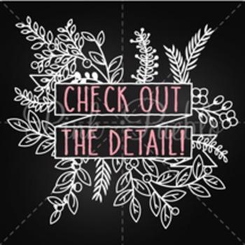 Vintage Chalkboard Floral Banner Clip Art Clipart, Rustic Wedding Laurel Wreath