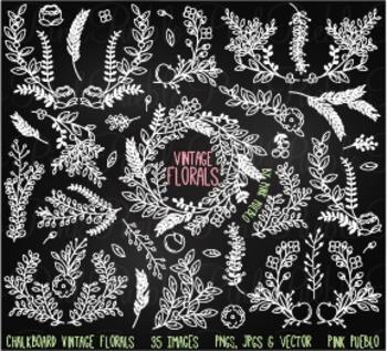 Vintage Chalkboard Florals Clipart Clip Art - Commercial & Personal