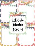Vintage & Chevron Editable Binder Covers