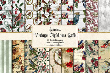 Vintage Christmas Birds Digital Paper