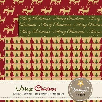 Vintage Christmas Digital Paper