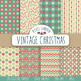 Vintage Christmas Digital Paper. Snowflake, Candy Cane Patterns- 14 JPEGs