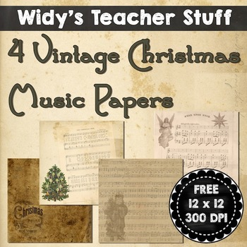 Vintage Christmas Music Papers Clip Art Freebie
