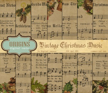 Vintage Christmas Sheet Music Digital Paper Backgrounds