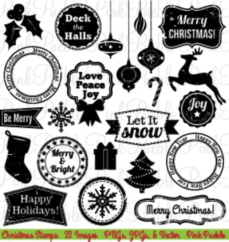 Vintage Christmas Stamps, tags, and Labels Clip Art - Comm