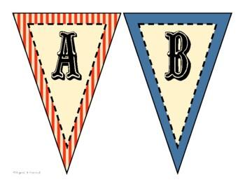 Vintage Circus Alphabet Pennants