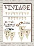 """Vintage Classroom Bunting SET - Capital and """"Lowercase"""" Letters- Symbols"""