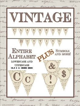 "Vintage Classroom Bunting SET - Capital and ""Lowercase"" Letters- Symbols"