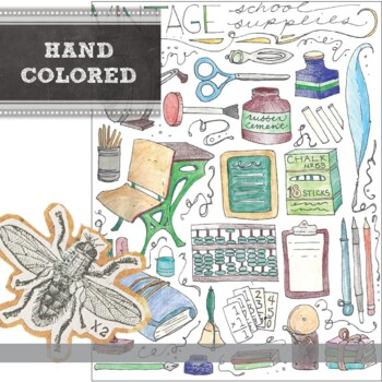 Vintage Classroom Supplies Clip Art: Hand Drawn Images in PDF, JPG, and PNG