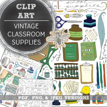 Vintage Classroom Supplies Clip Art: Hand Drawn Images in