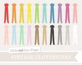 Vintage Clothespin Clipart; Laundry, Clothes, Clothing, Peg