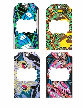 Vintage Colorful Art Deco Butterfly Patterned Tags