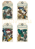 Vintage Colorful Insect Tags, Dragonflies, Beatles, Moths, Instant Download