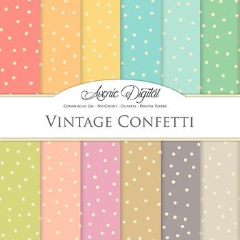 Vintage Confetti Digital Paper patterns scrapbook Worn old dots background