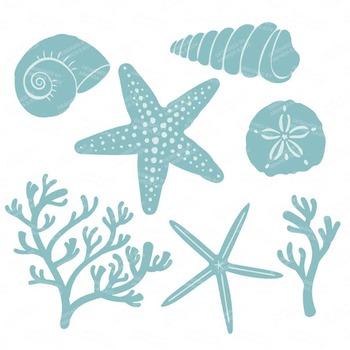 Vintage Boy Coral & Seashells Clipart