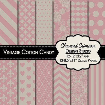 Vintage Cotton Candy Digital Paper 1317