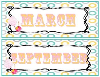 Vintage County Fair Months of the Year Calendar