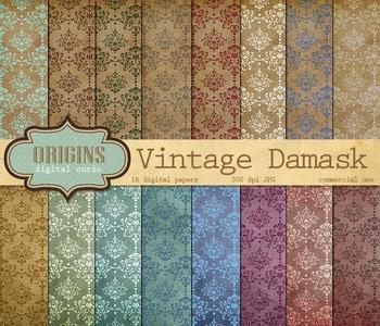 Vintage Damask Scrapbook Digital Paper