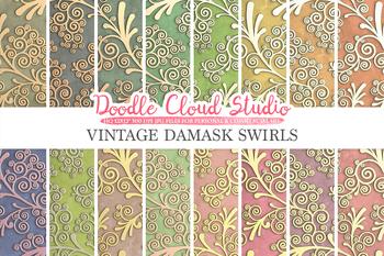Vintage Damask Swirls digital paper, Elegant Swirls pattern, Ornamental Digital