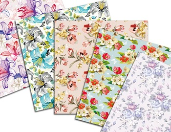 Vintage Delicate Shabby Chic Flower Digital Papers Vintage Flower Papers