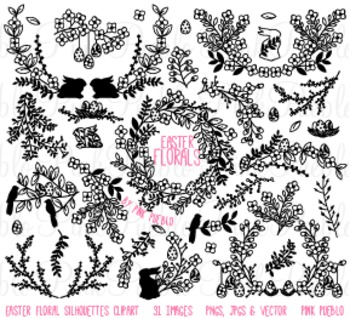 Vintage Easter Flower Silhouettes Clip Art Clipart - Commercial and Personal